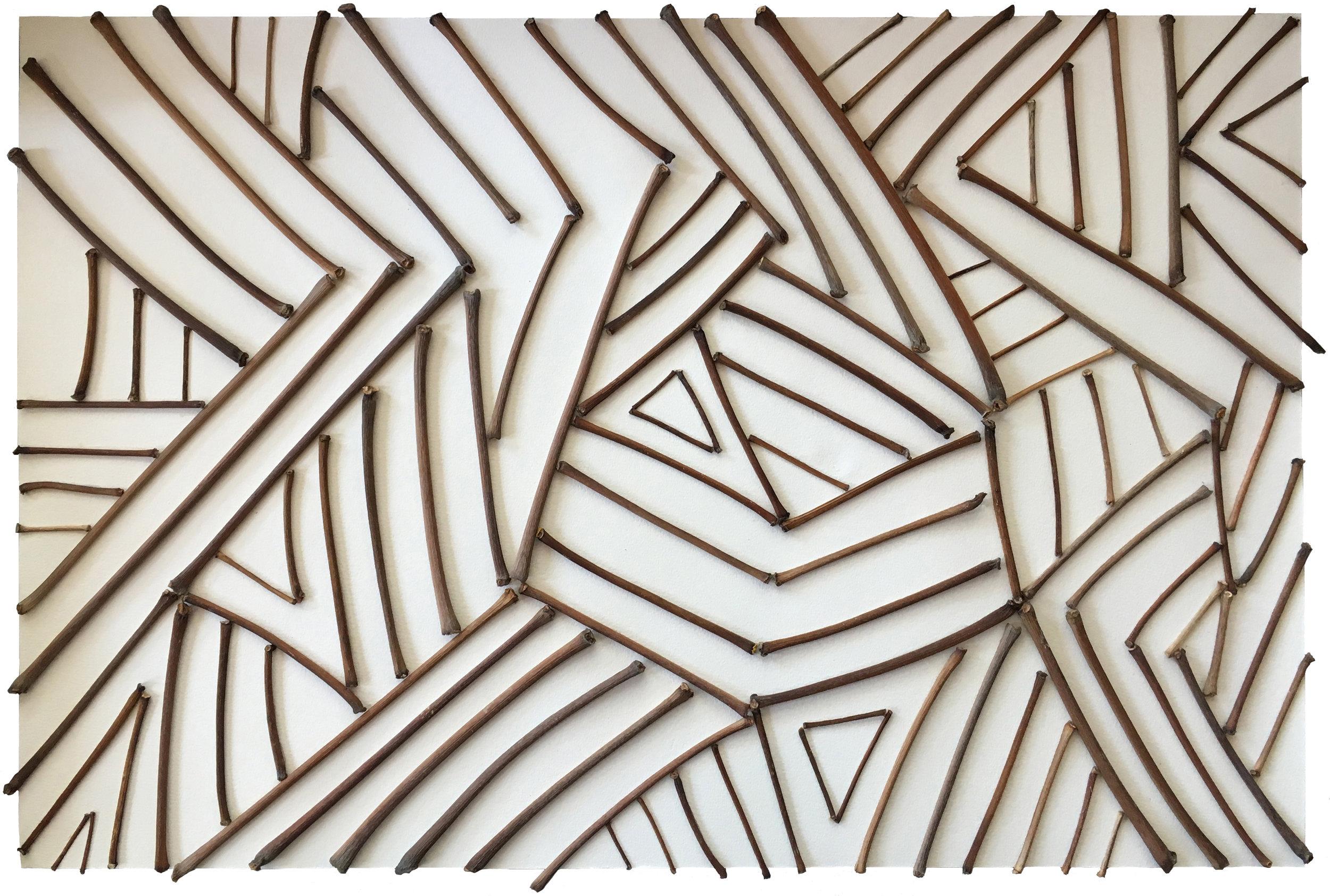 """b. jasper   sticks on paper 18"""" x 12"""""""