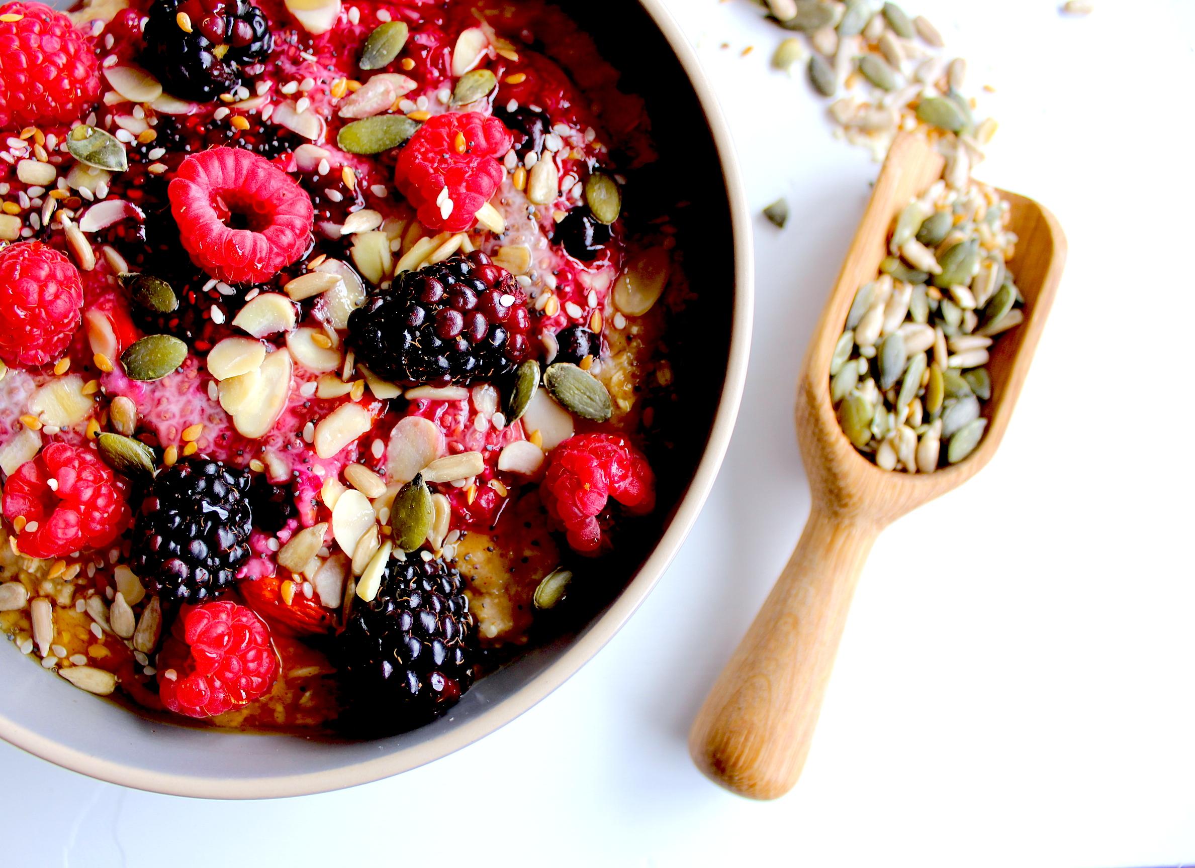 Winter Berry Chia Oat Breakfast via Beyond Fit Recipes