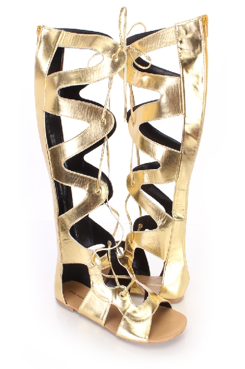 Gold Gladiator Sandals   Shoe Republic