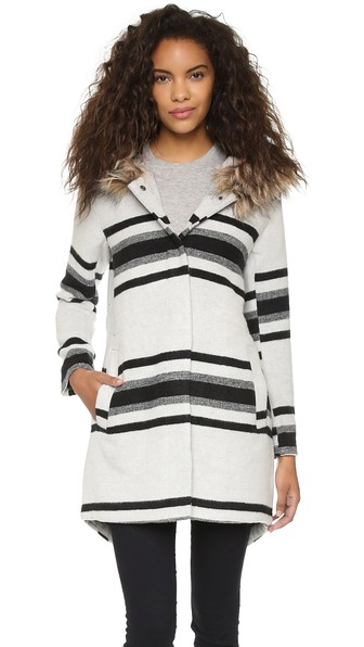 BB Dakota Welsan Striped Jacquard Coat