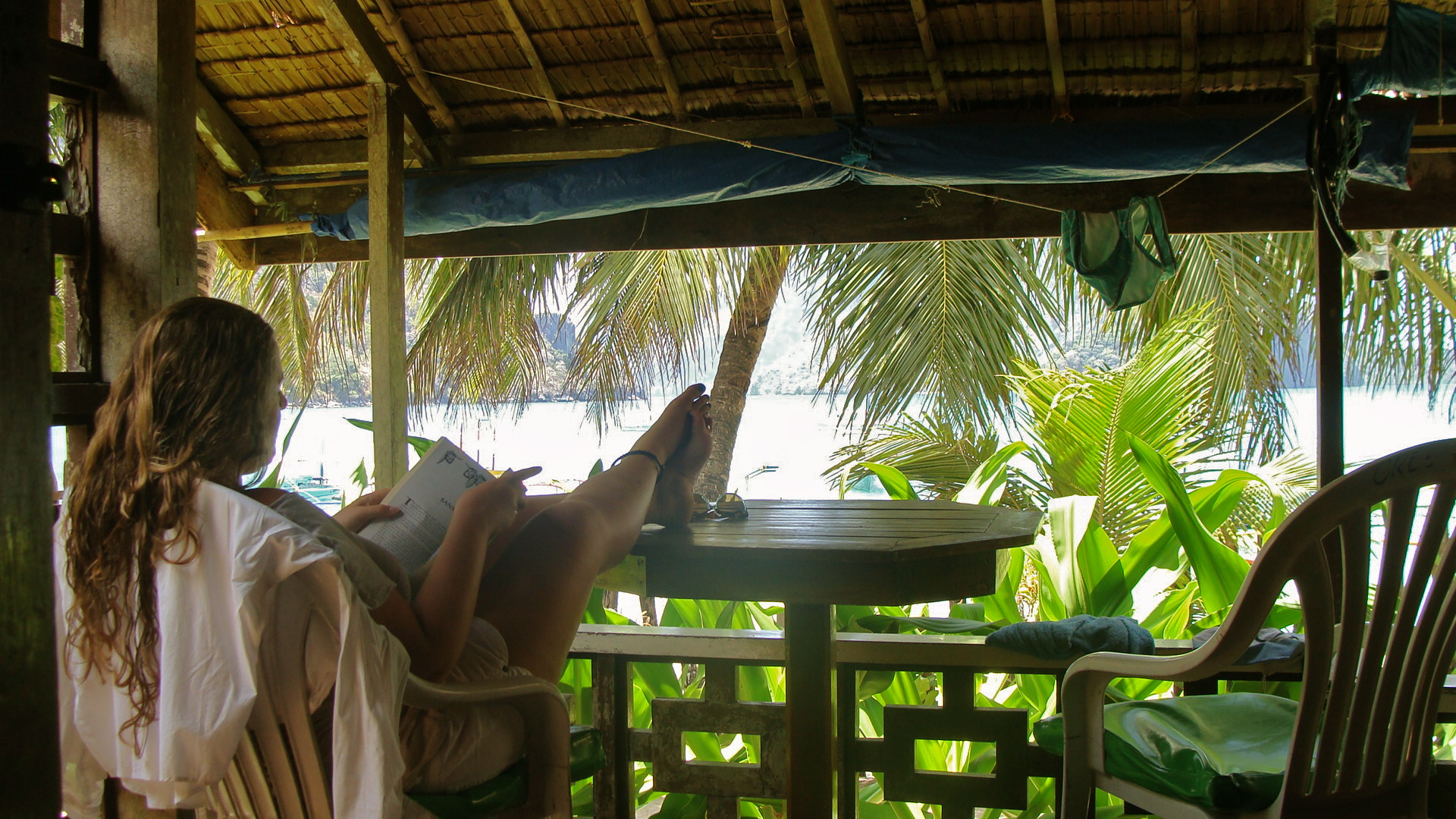 Relaxing in my beach cabana in El Nido, Philippines.