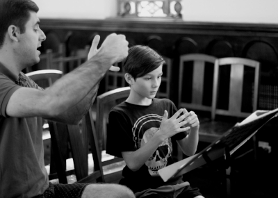 Coaching at the Songmakers Australia studio (2016).