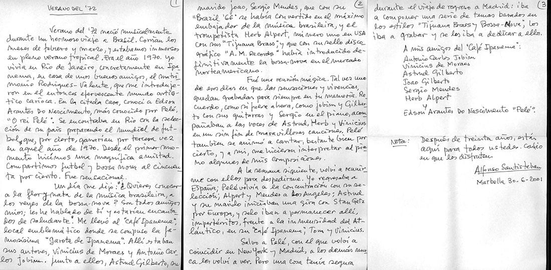 """Texto manuscrito de introducción al disco """"Verano del 72"""""""
