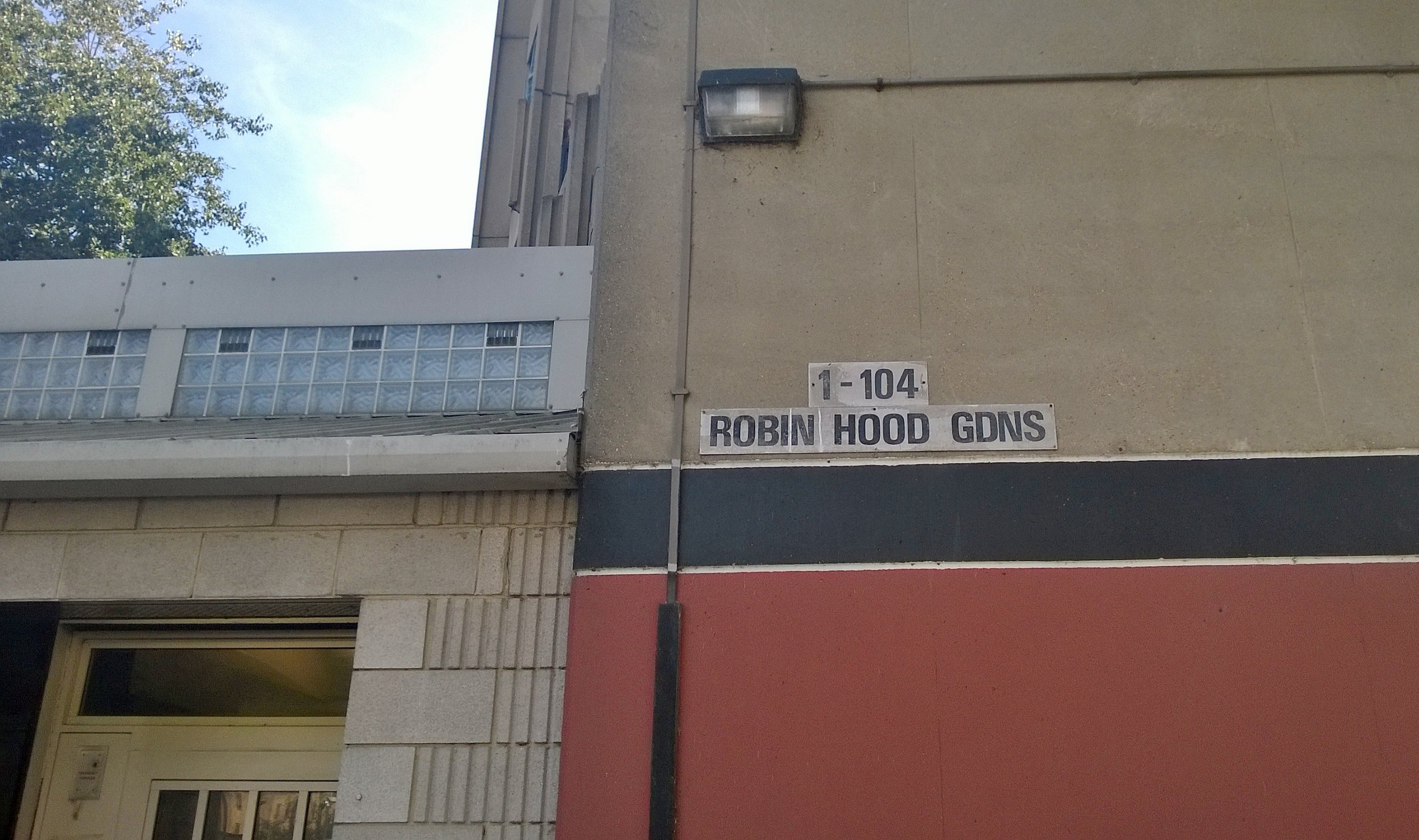 Entrance to first block at Robin Hood Gardens.