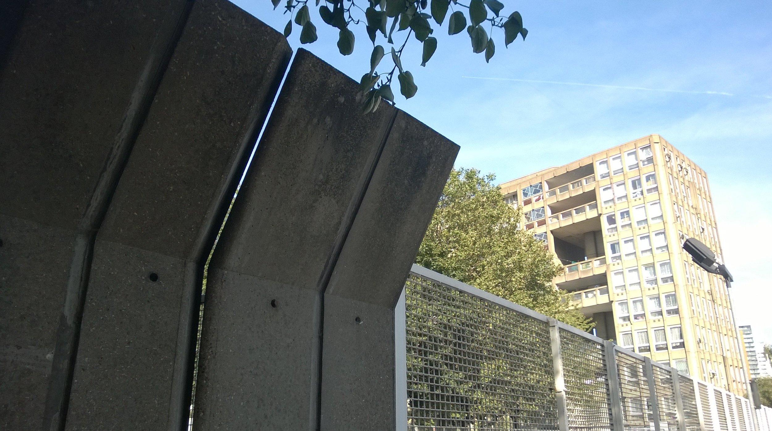 Robin Hood Gardens concrete sound baffles.