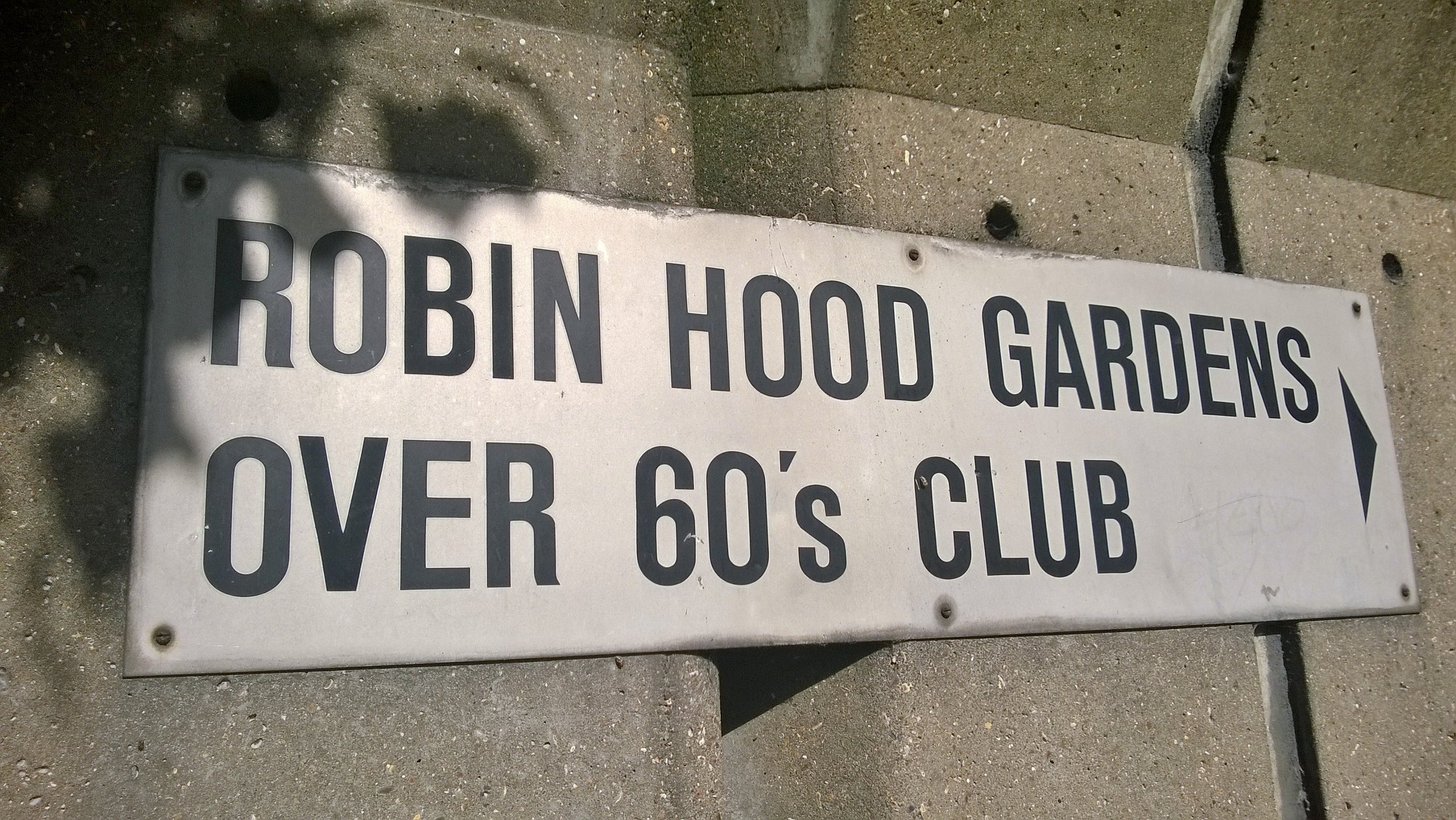 Over 60s Club sign.