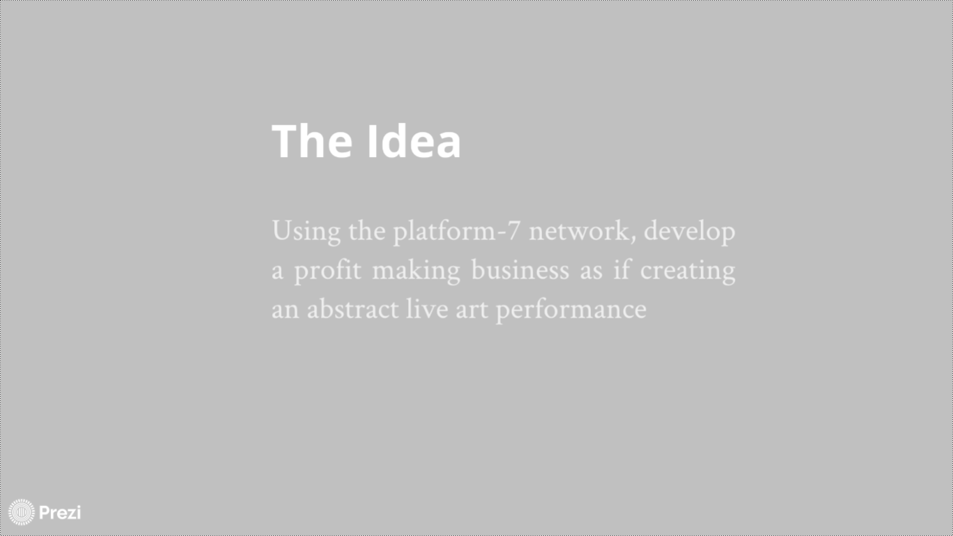 The Idea, Screenshot from John McKiernan's Prezi (from 2013 I think) - now removed by author