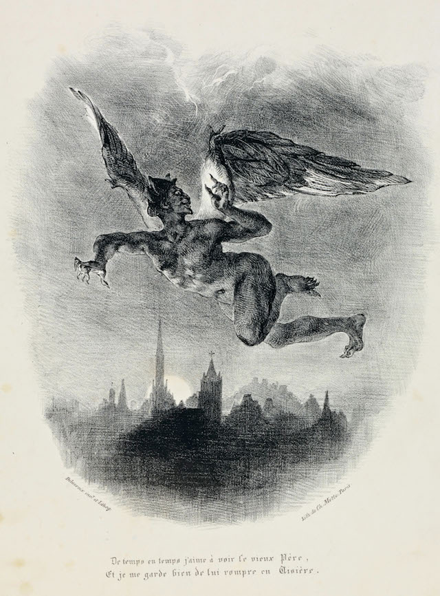 Mephistopheles Flying, from Faust, lithograph,  Eugène Delacroix , 1828