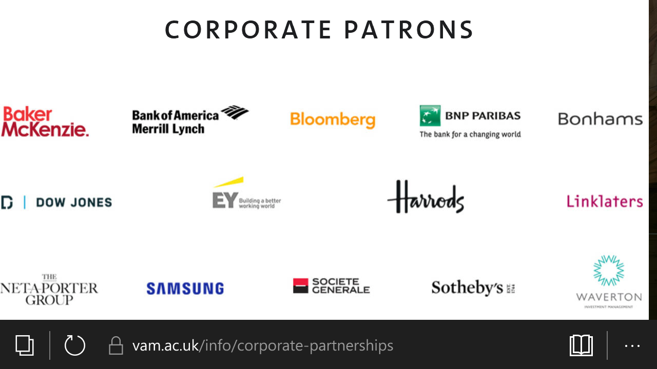 V&A's corporate patrons... For more see the link above.