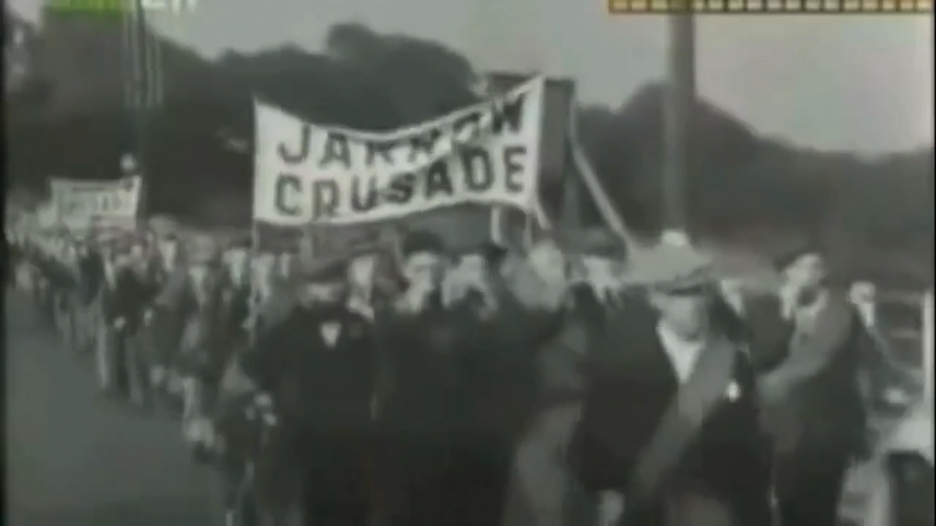 Archive footage of the Jarrow March, 1936.