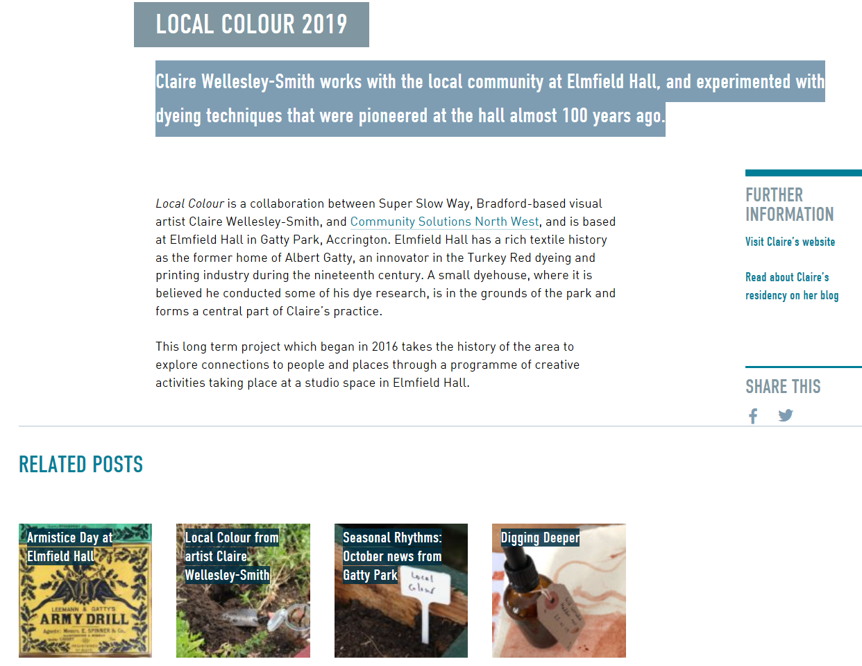 Local Colour landing page on Super Slow Way's website.