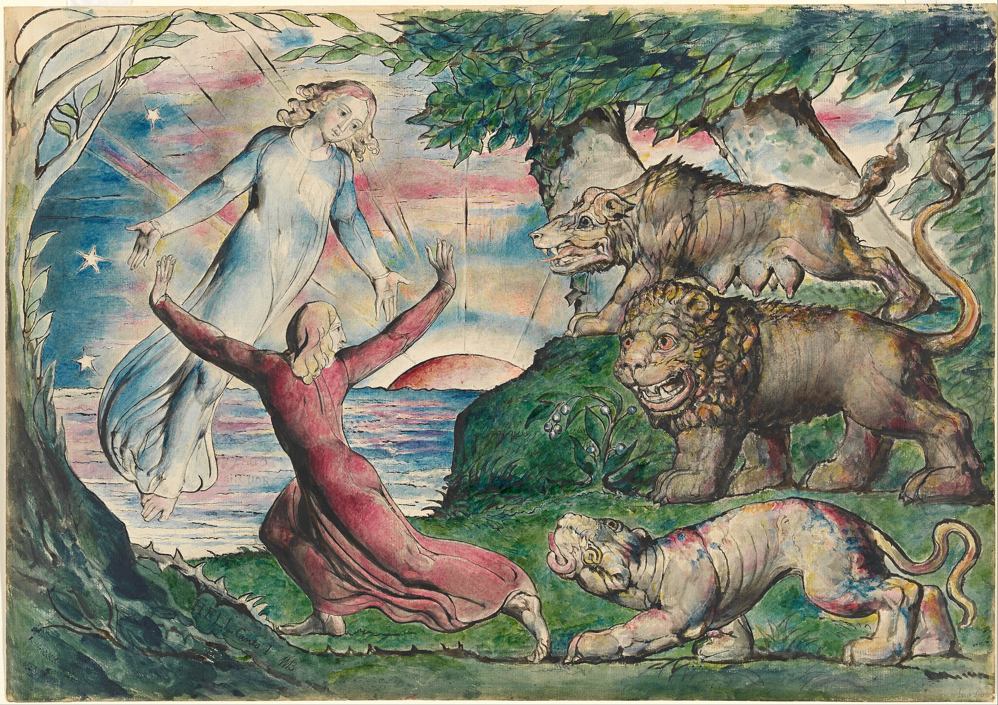 Dante running from the three beasts , William Blake (between 1824 and 1827).