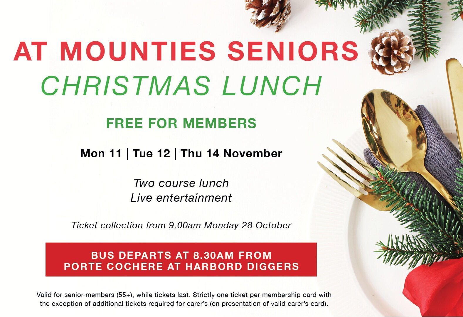 Mounties Seniors Christmas Lunch Covered Hub