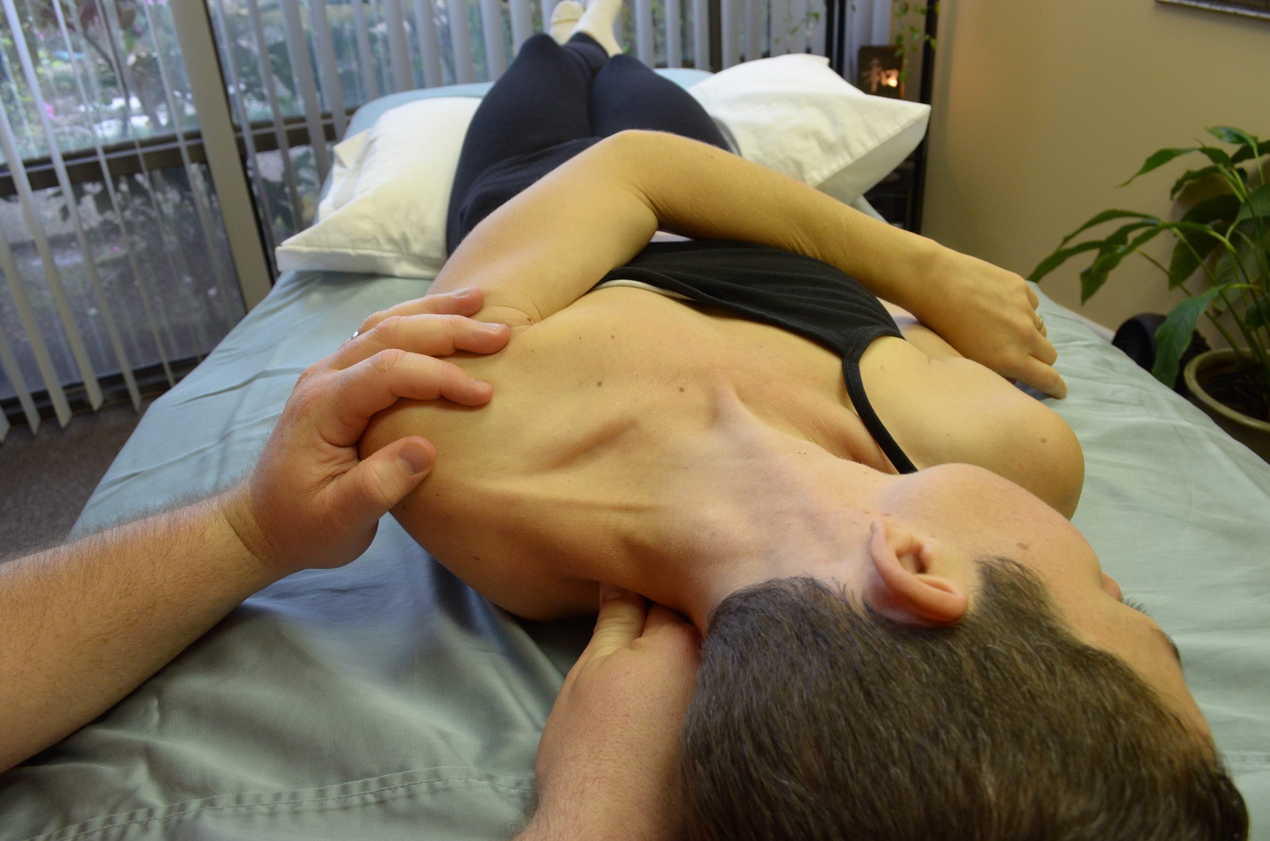 Levator Scapula Active Movement & Positional Release. Getting rid of those pesky headaches! Great deep tissue massage technique in orlando, florida