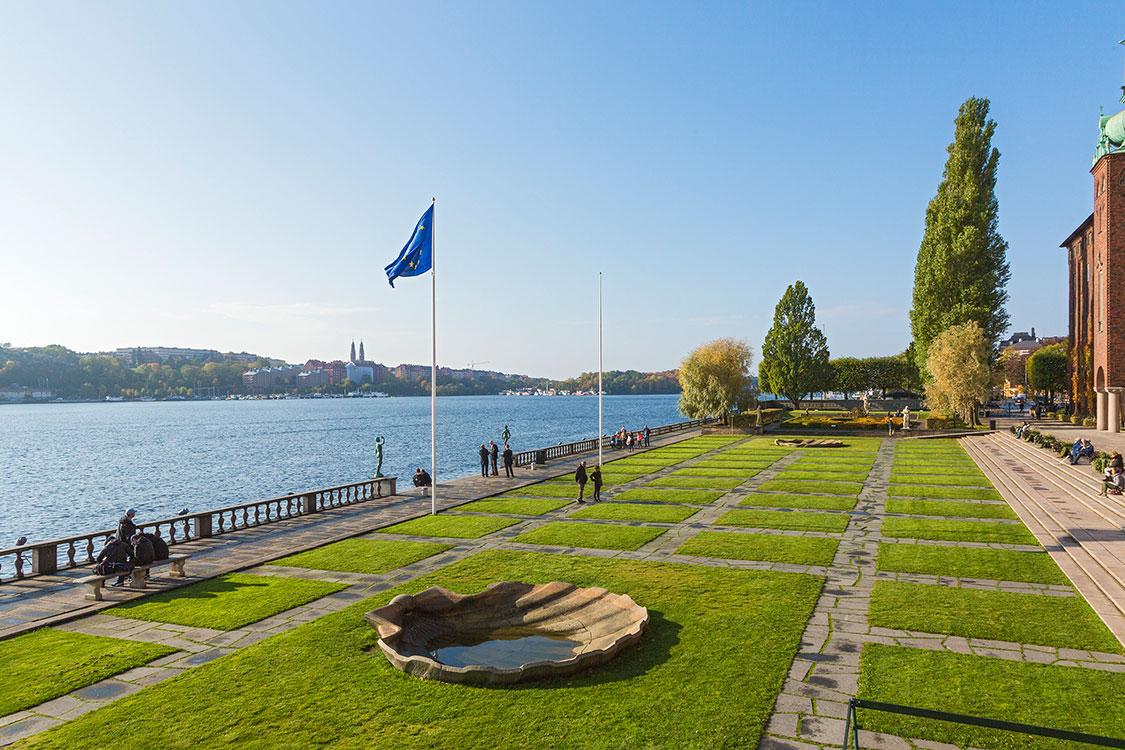 Rathaus, Terassen, Mälarsee, Stockholm 2014
