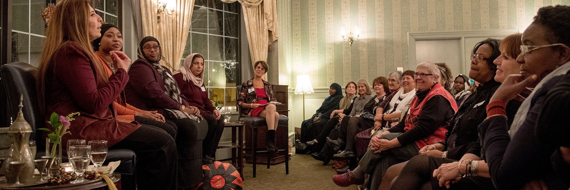 Catherine facilitates a panel of four women who discuss what it's like navigating life as a Muslim in Maine during the 2017 Justice For Women Kick-Off event.