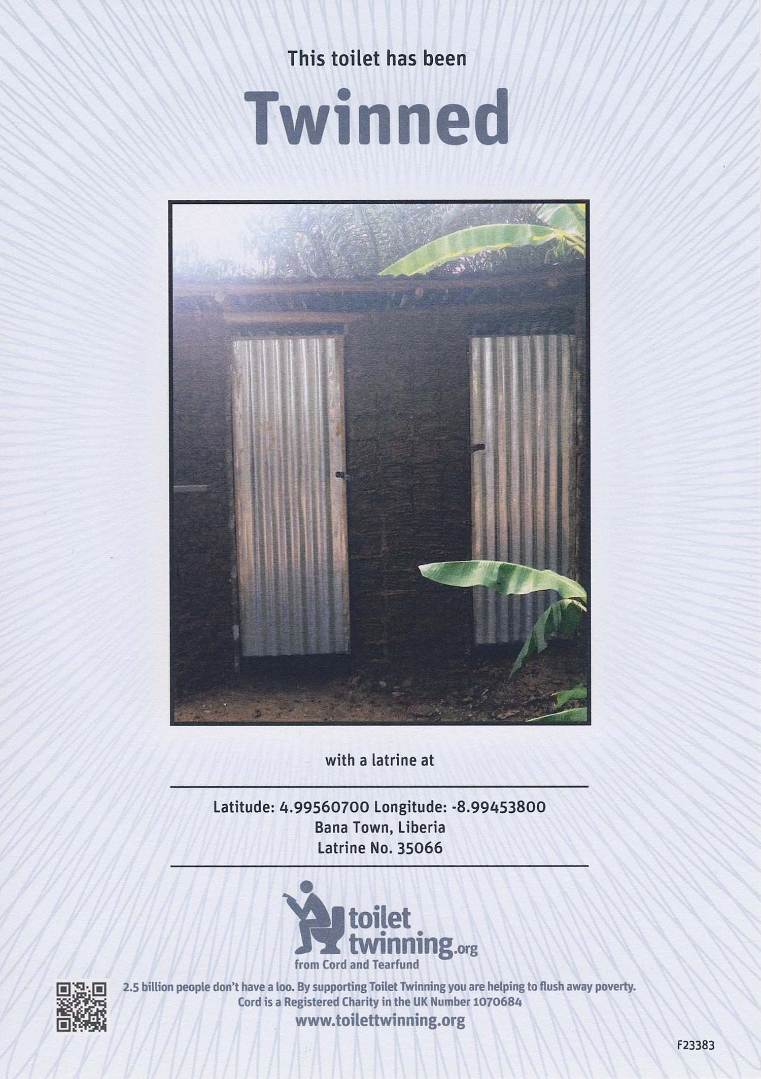 Toilet Twinning certificate.