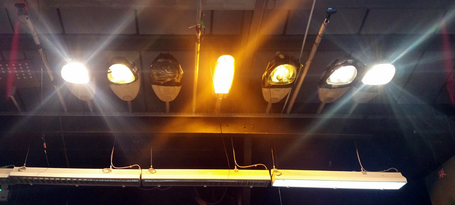 Street lights in the PAMELA lab.