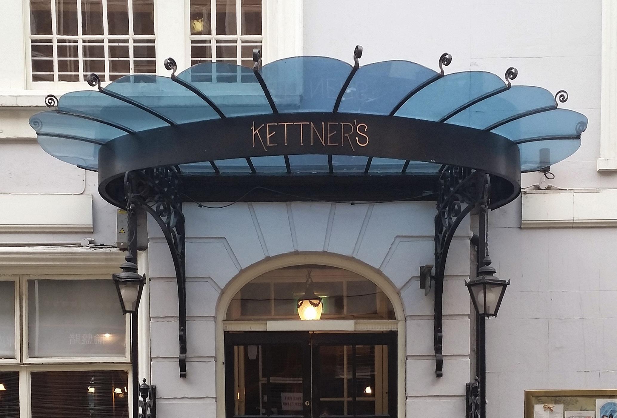 Early twentieth century canopy to Kettner's on Romilly Street in Soho. © Rachael Marshall 2014.