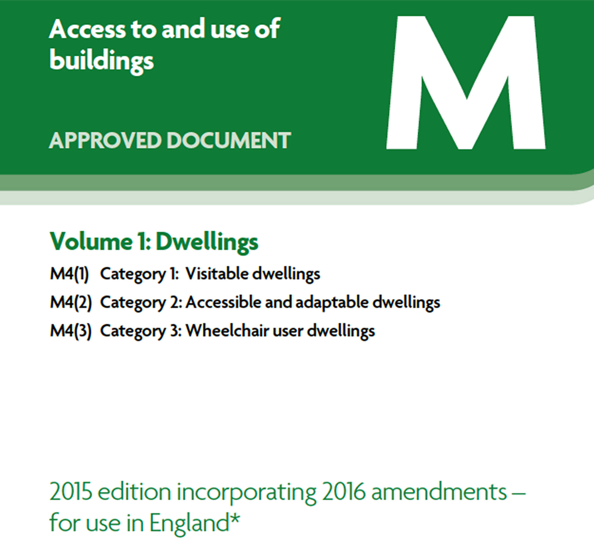 Part of cover of amendments to Approved Document M, Volume 1.