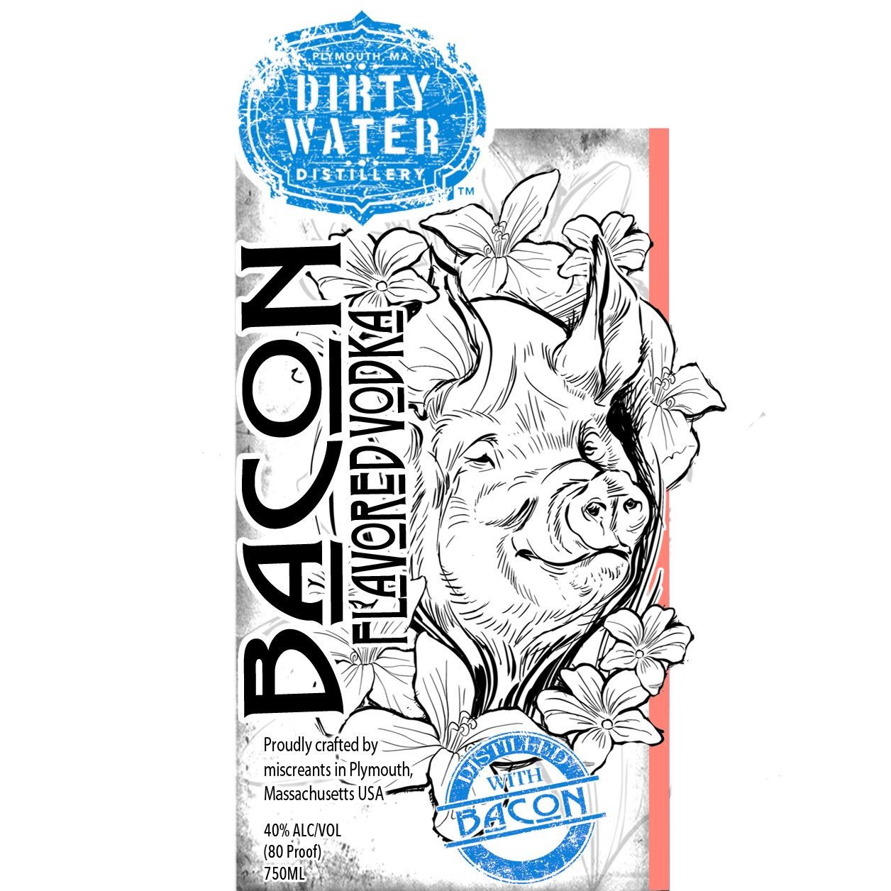 Sue-E Bacon Vodka  - Yup, we did it. We actually cooked bacon, infused our spirit, and distilled it to make a true bacon flavored vodka.