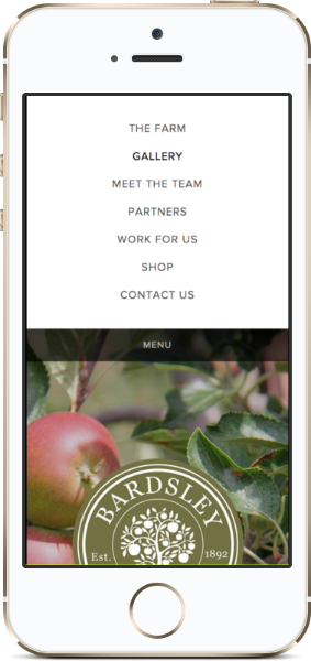 Bardsley farms Website mobile view