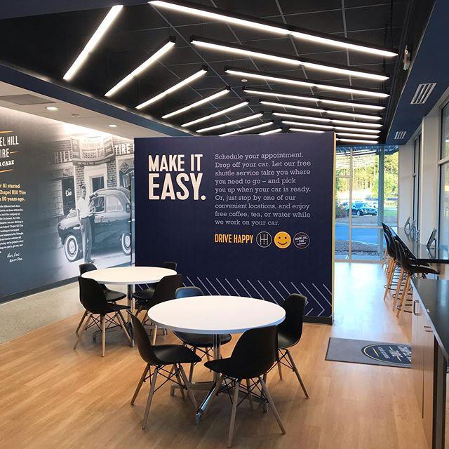 Our most recent branded environment project grand re-opening tomorrow!!!! @chapelhilltirenc #interiordesign #brandedenvironments #interarchitecture #provoststudio #retaildesign