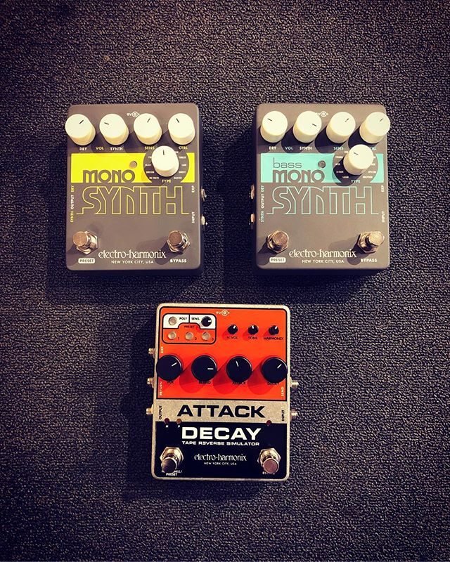 EHX released new pedals and we have 3 of them in the shop!  Attack Decay - This re-released version of the 1980 classic includes the same volume and reverse swells, backward tape sounds, artificially short staccato notes and bowed instrument effects. It also features a Harmonic fuzz, effects loop and expression pedal input!  Mono Synth - Turn your guitar into eleven great sounding synthesizers, from string-like synths to aggressive resonant sounds and deep drones and bell-like tones!  Bass Mono Synth - This pedal will transform your bass into eleven different bass synthesizers, from vintage synth emulations, to thick, stacked voices to deep pulsing sounds and more!