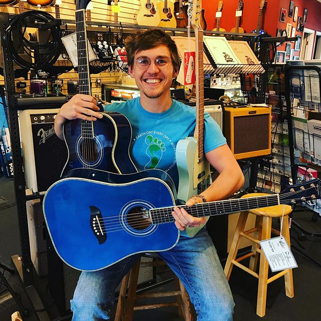 The Blues championship parade today was awesome so in the shop we got out all of our favorite blue guitars.