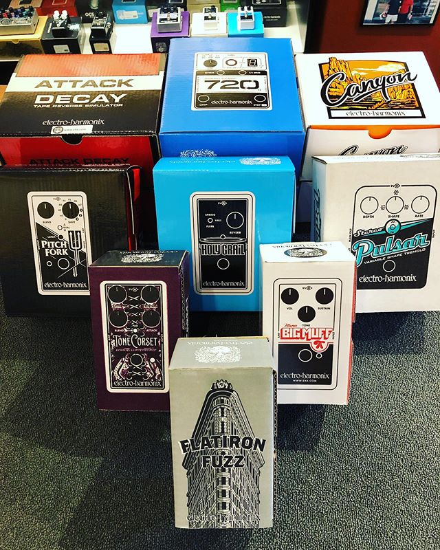"Just arrived: Flatiron Fuzz  Here is the description from EHX ""The Flatiron Fuzz is a classic op-amp powered fuzz/distortion. With its late 70's style circuit and symmetrical hard clipping, it's EHX's take on the Rat2 pedal, only we think it is better."""