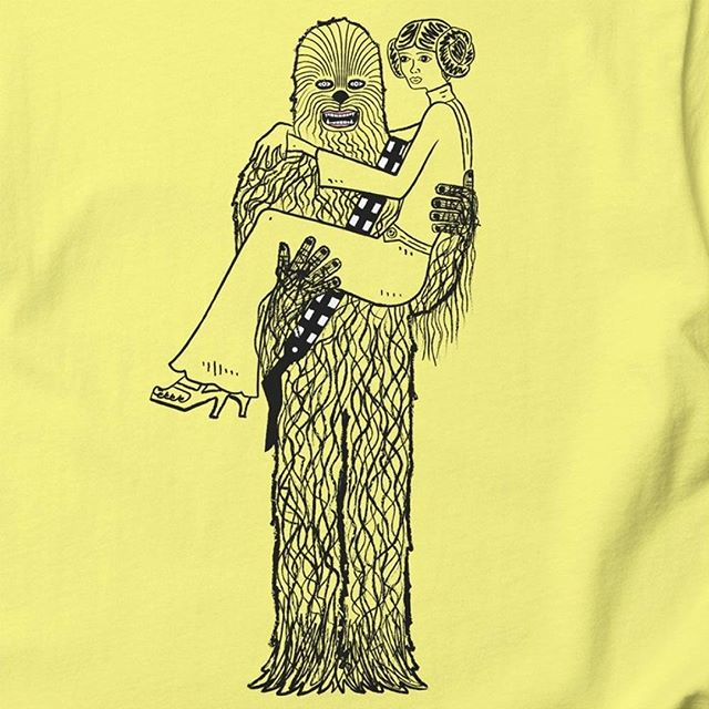 'Chewy Finds a Girlfriend' printed on lemon yellow t-shirt