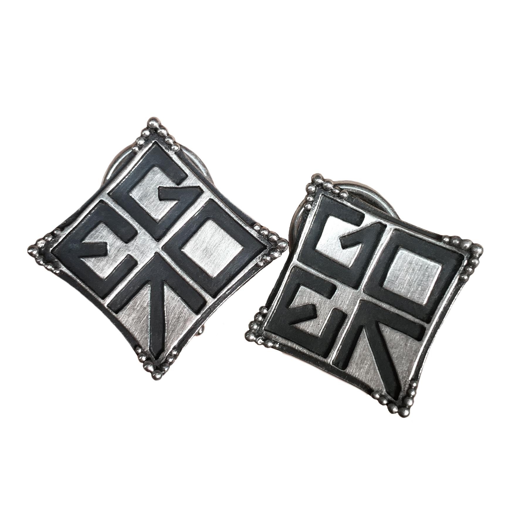 Elisa Melegari Custom Handmade Sterling Silver EGOT Whoopi Goldberg Earrings