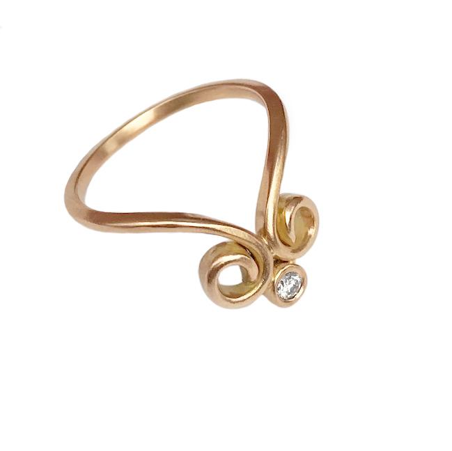 Elisa Melegari Custom Handmade Diamond 18k Yellow Gold Chevron Ring