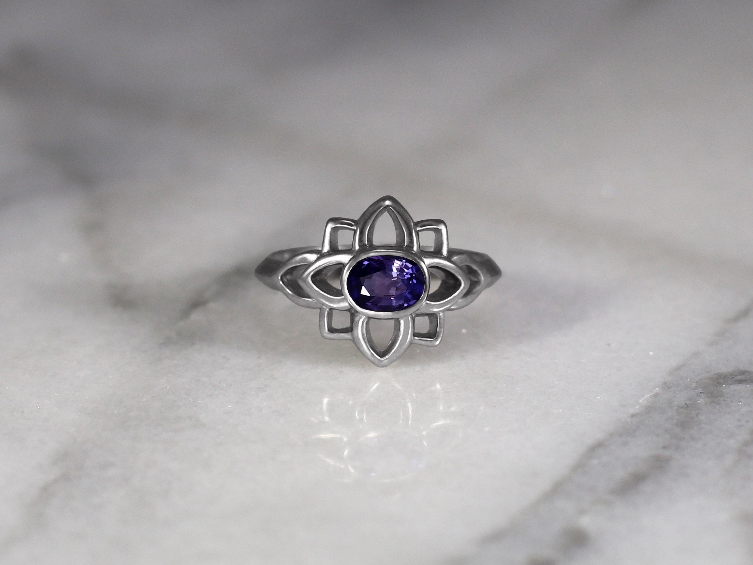 Elisa Melegari Custom Handmade Oval Purple Sapphire 14k White Gold Flower Solitaire Engagement Ring