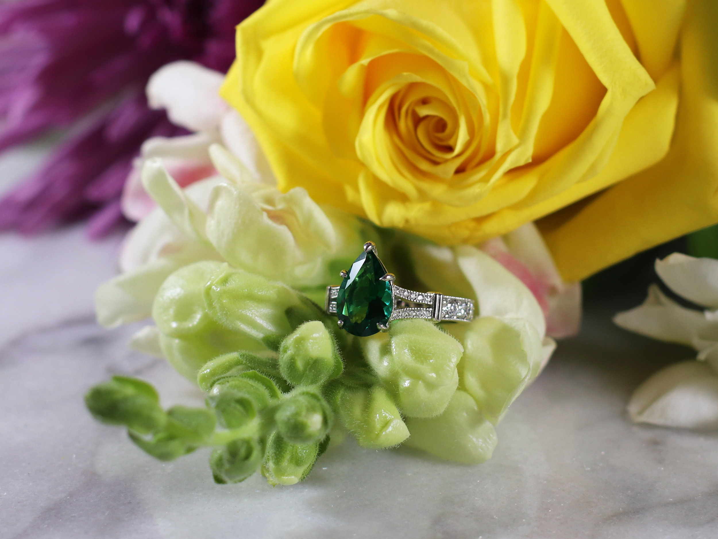Elisa Melegari Custom Handmade Lab Grown Pear Emerald Platinum Diamond Milgrain Pave Split Shank Art Deco Solitaire Engagement Ring
