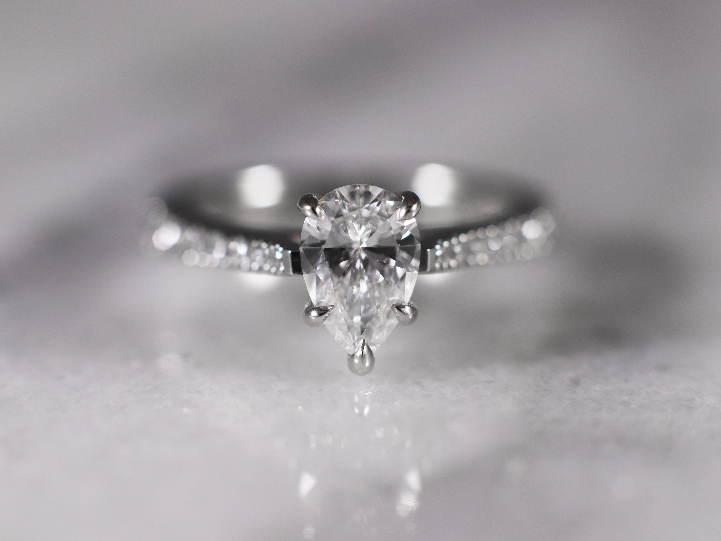 Elisa Melegari Custom Handmade Pear Diamond Platinum Milgrain Pave Engagement Ring