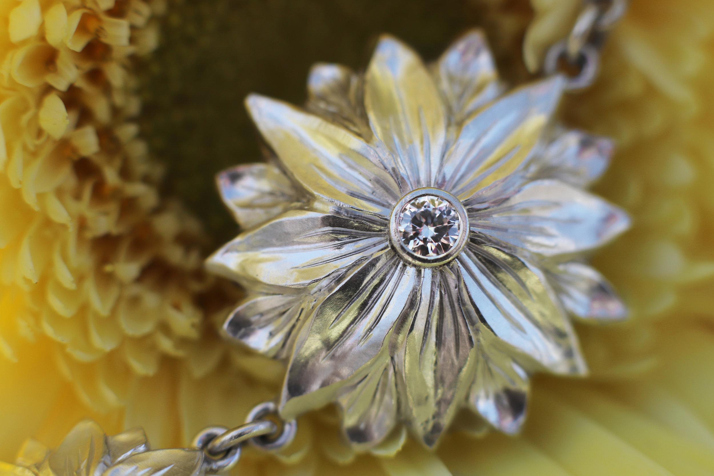 Elisa Melegari Custom Handmade Diamond Sterling Silver Flower Ring Chain Bracelet