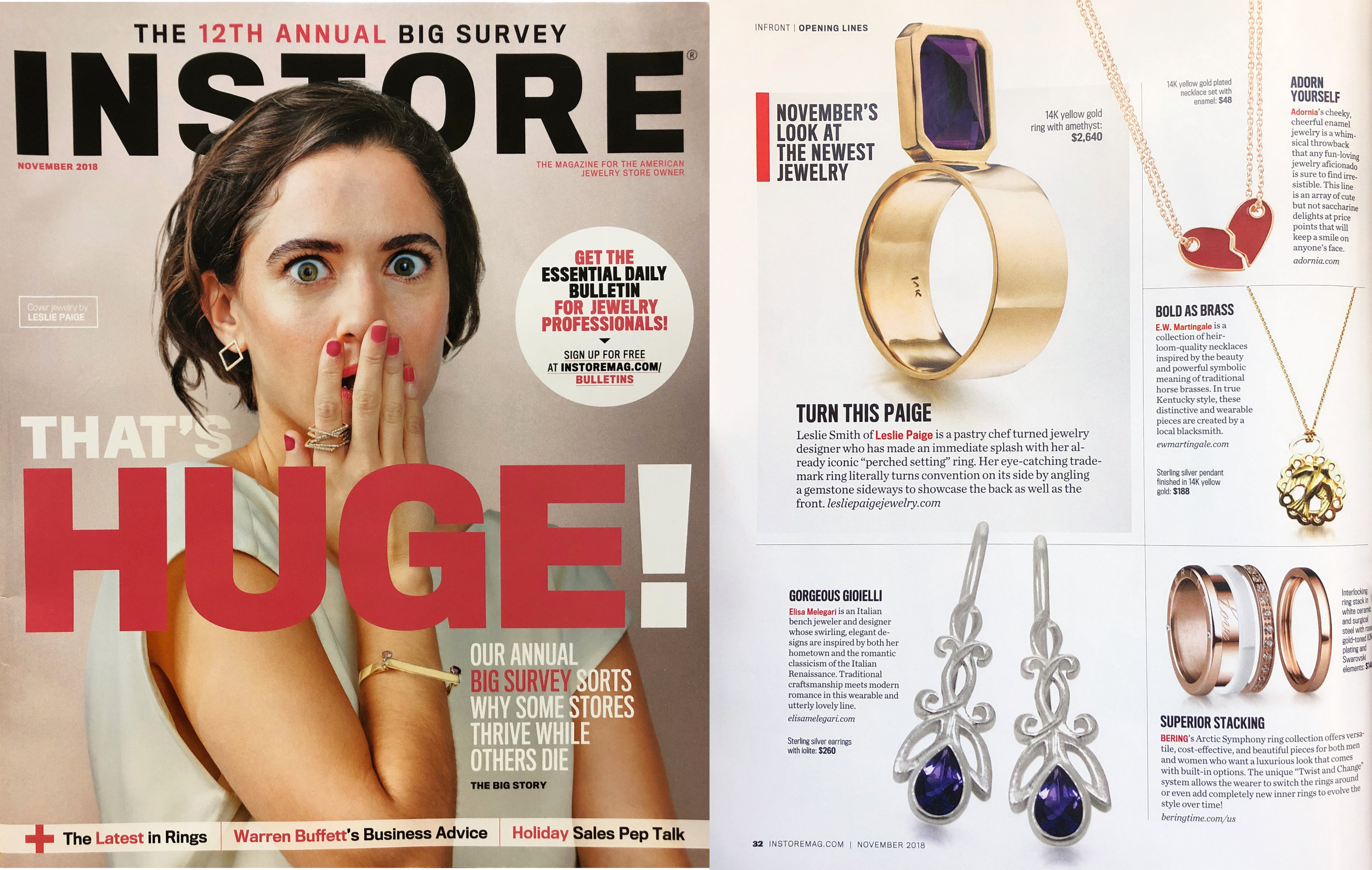 instore magazine, elisa melegari jewelry, silver earrings, iolite earrings,