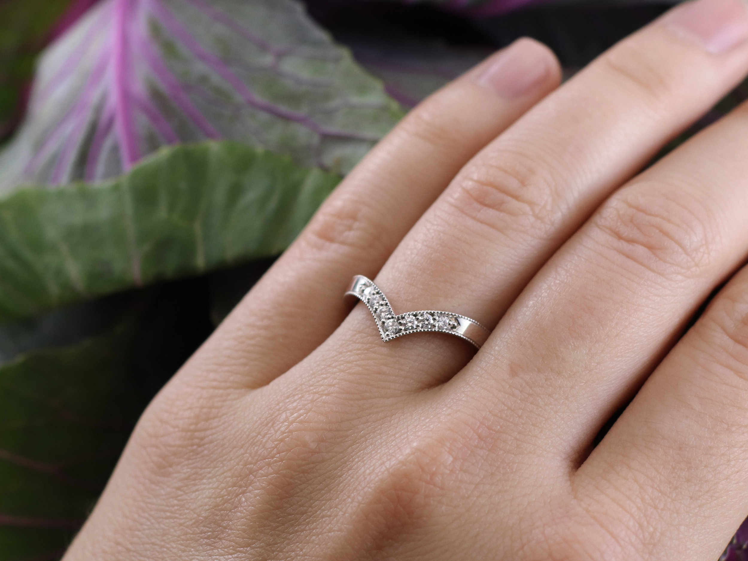 Elisa Melegari Custom Handmade Diamond Platinum Milgrain Pave Chevron Wedding Ring