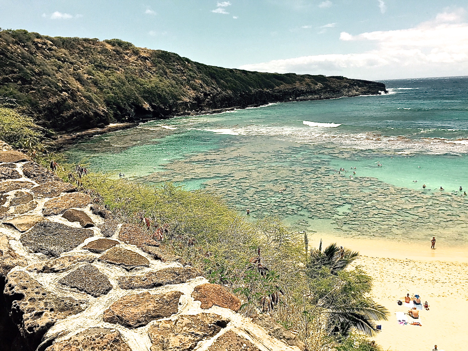 Snorkeling at Hanauma Bay-claimed as one of the best in Oahu.
