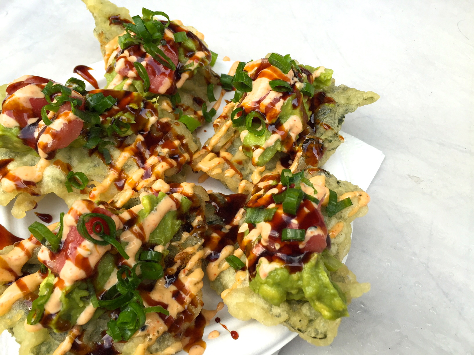 The killer dish at the  Otsuji Farms  stand-' Crispy Nori with Poke Tuna + Avocado+Scallions+Spicy Mayo.