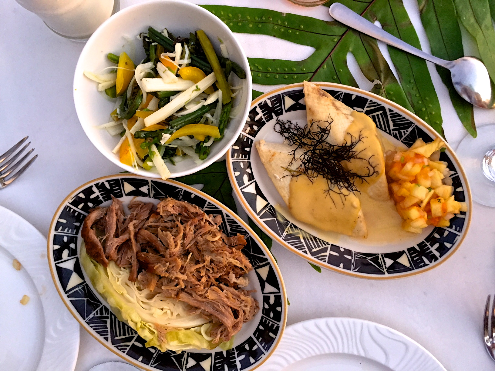 This luau served courses from different historical regions of Hawaii. Ate a little too much that evening, not to mention the unlimited pina coladas.