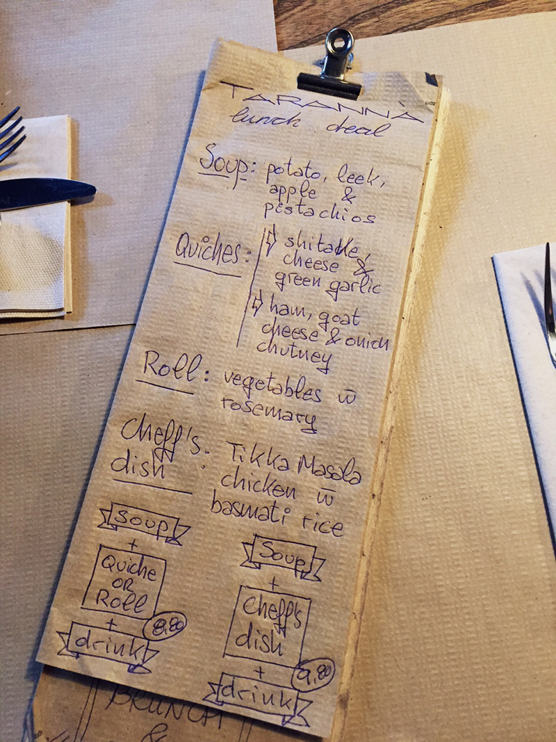 The daily special on a paper towel-Taranna restaurant,Barcelona
