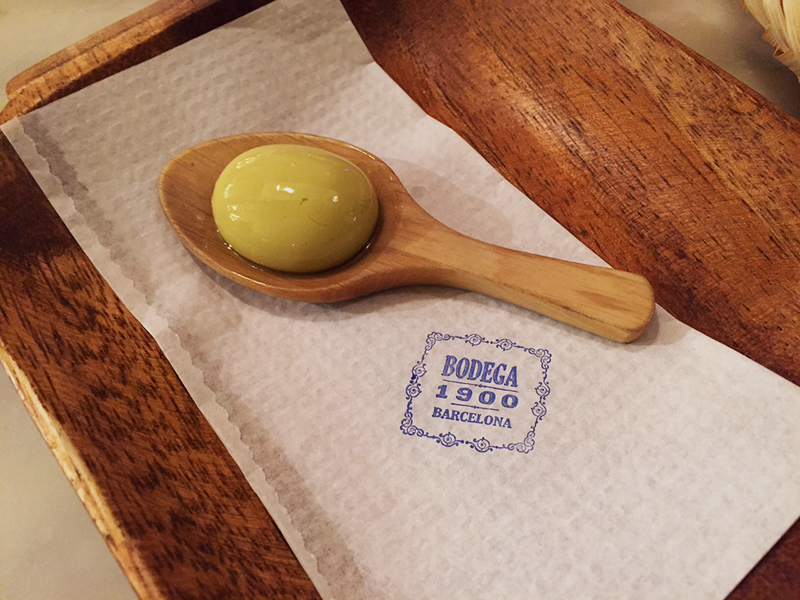 The infamous  Adrià brothers 'Olive burst with vermouth' Bodega 1900, Barcelona