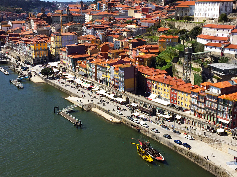 This killer view of the beautiful homes along the Douro river front, Porto