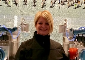 Debbie aboard Quantam of the Seas at the Bionic Bar!