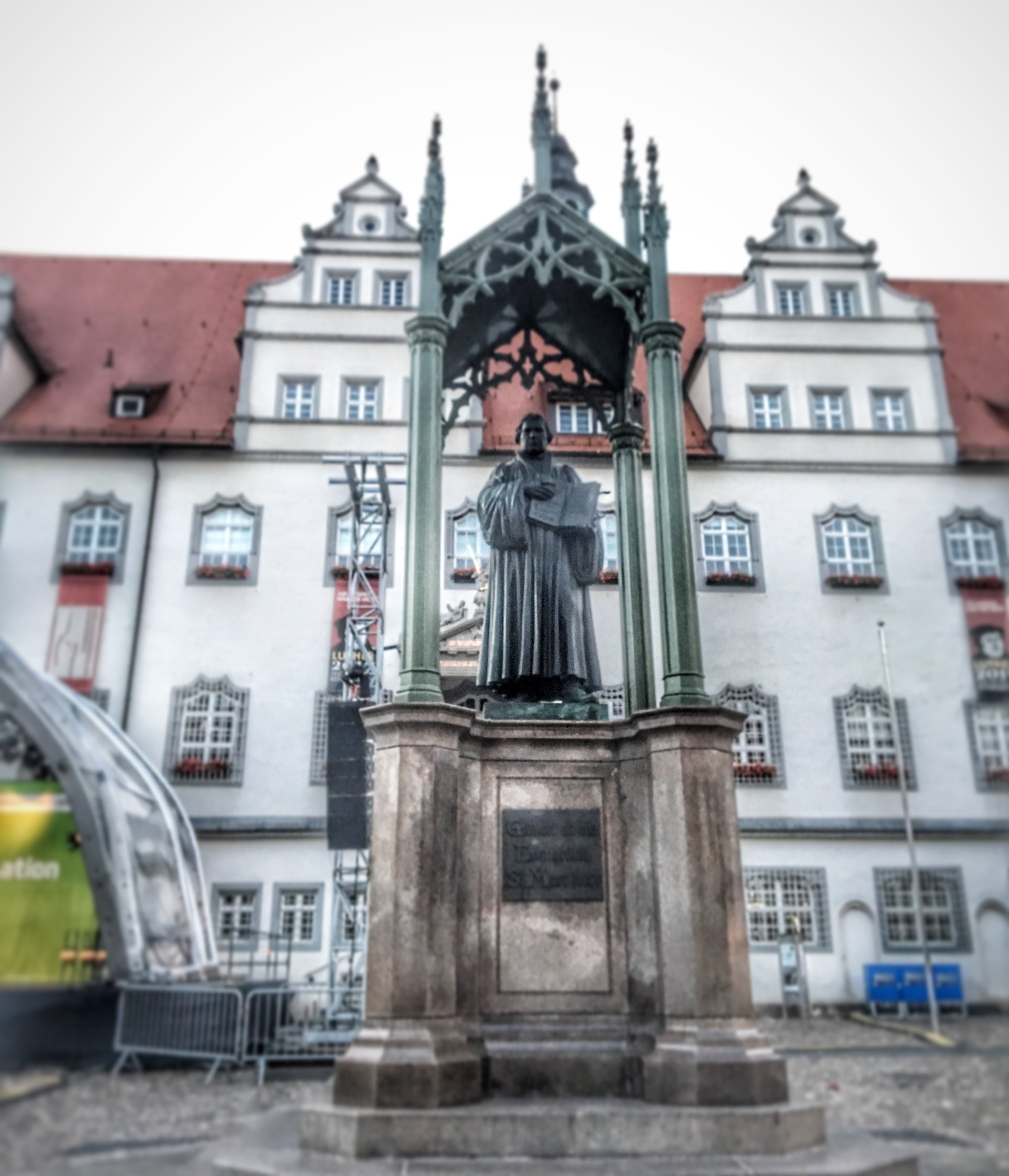 Luther statue in the town square of Wittenberg