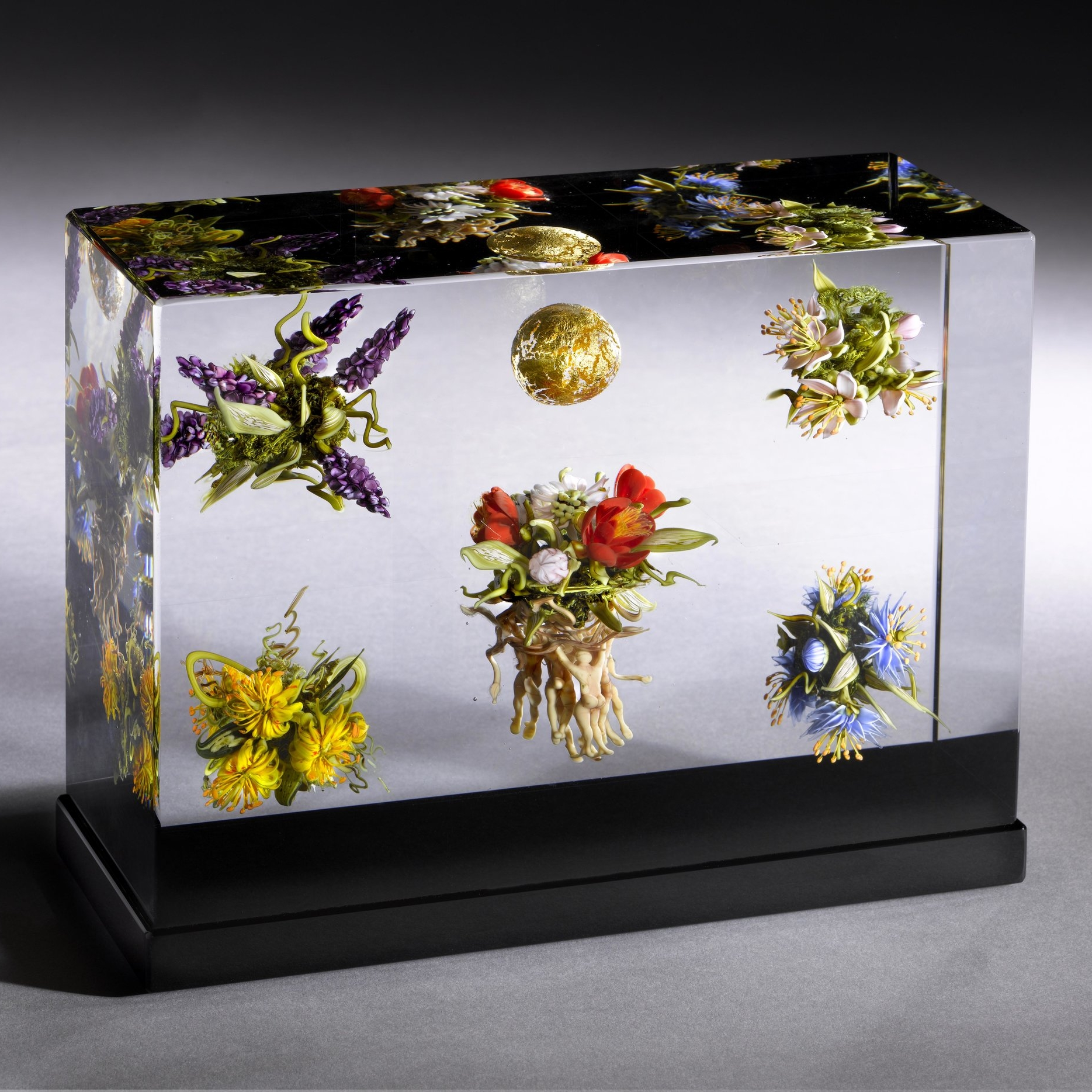 2011; Golden Orb, Floral Cluster and Figures Triptych; H. 6.0 inches x W. 8.12 inches x D. 3.0 inches
