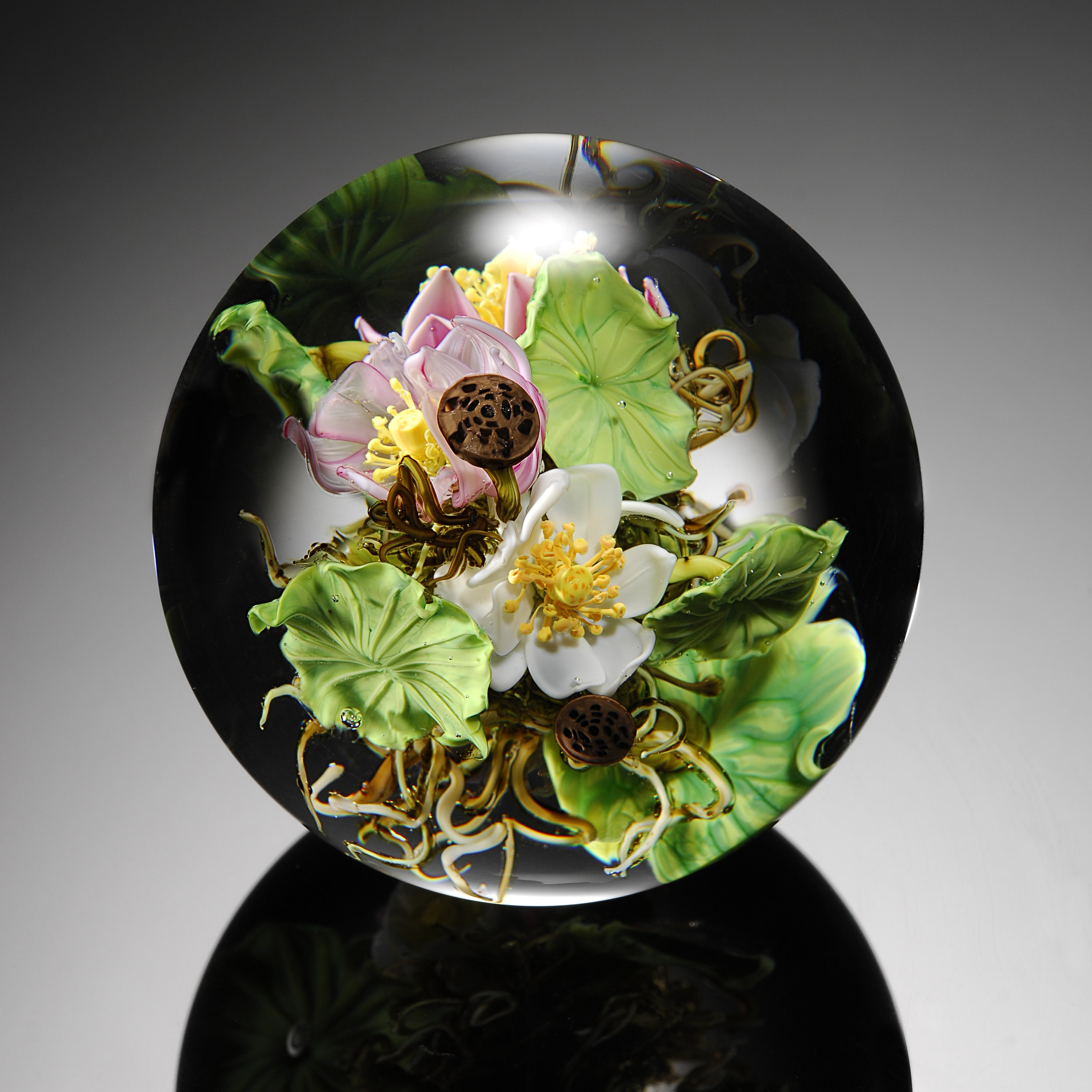 2008; Lotus Bouquet Orb; D. 4.0 inches
