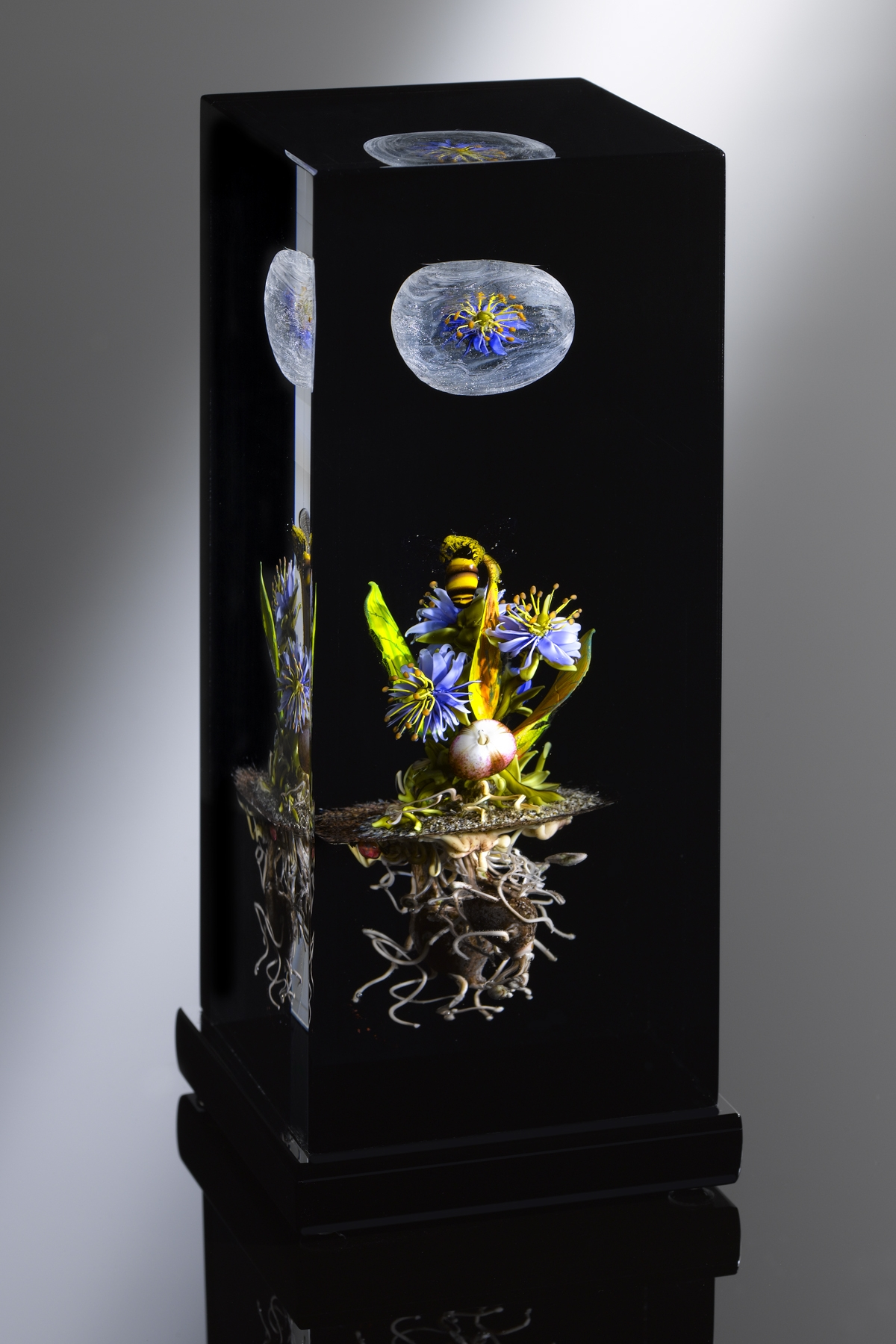 2009 Pineland's Veiled Orb Column; H. 7.0 inches x L. 3.0 inches x W. 3.0 inches
